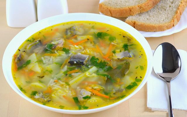 Суп с рисом и консервированной сардиной