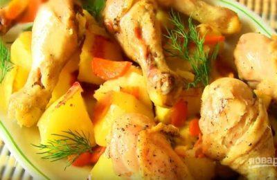 Курица с картофелем в микроволновке