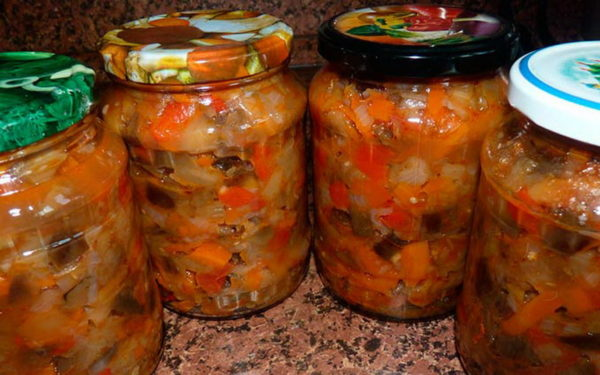салат с баклажанами, консервированный