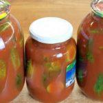 Соленые огурцы в томатном соке